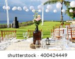 decorated wedding table at... | Shutterstock . vector #400424449