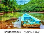 old boat in tropical river ... | Shutterstock . vector #400437169