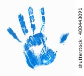 blue acrylic handprint | Shutterstock .eps vector #400443091