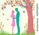 romantic couple stay under the... | Shutterstock .eps vector #400443691