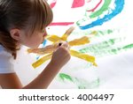 a young girl concentrating on a ... | Shutterstock . vector #4004497