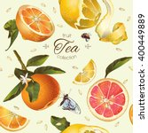 vector vintage citrus tea... | Shutterstock .eps vector #400449889