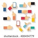 set of hand gestures icons in... | Shutterstock .eps vector #400454779