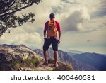 hiking man  climber or trail... | Shutterstock . vector #400460581