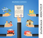 insurance services concept with ... | Shutterstock .eps vector #400474519