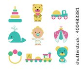 set of 8 isolated toys and a... | Shutterstock .eps vector #400483381