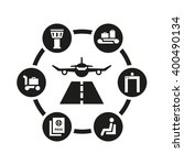 vector black airport icon set.... | Shutterstock .eps vector #400490134