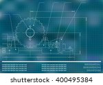 mechanical drawings on a blue... | Shutterstock .eps vector #400495384