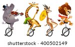 funny wild animals on unicycles.... | Shutterstock .eps vector #400502149