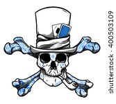 skull in hat with pipe  tattoo... | Shutterstock .eps vector #400503109