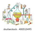 sketch of chemical experiment... | Shutterstock .eps vector #400513495