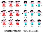 naive girl and a boy kid in a... | Shutterstock .eps vector #400513831