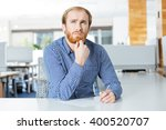 thoughtful bearded young... | Shutterstock . vector #400520707