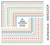 set of vector embroidery stitch ... | Shutterstock .eps vector #400522429
