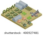 isometric army base camp with... | Shutterstock .eps vector #400527481