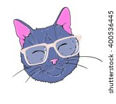 cat with glasses   vector... | Shutterstock .eps vector #400536445