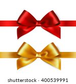 shiny red and gold satin ribbon ... | Shutterstock . vector #400539991