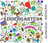 kindergarten line art design... | Shutterstock . vector #400541941