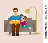 father and daughter sitting on... | Shutterstock .eps vector #400552171
