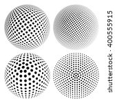 set of abstract halftone 3d... | Shutterstock .eps vector #400555915