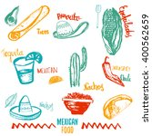 vintage mexican food isolated...   Shutterstock .eps vector #400562659