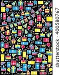 doodle set of presents. cute... | Shutterstock .eps vector #400580767