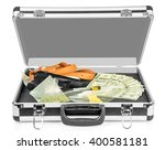 case with money  guns and drugs ...   Shutterstock . vector #400581181