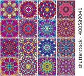 set of ethnic seamless pattern. ... | Shutterstock .eps vector #400589041