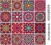 set of ethnic seamless pattern. ... | Shutterstock .eps vector #400589059