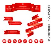 set of red ribbon banners.... | Shutterstock .eps vector #400592569