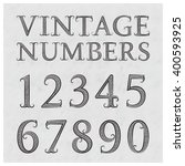 vintage patterned numbers.... | Shutterstock .eps vector #400593925