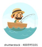 cartoon fisherman | Shutterstock .eps vector #400595101