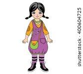 Vector Girl In A Violet Dress...