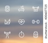 fitness line icons  thick... | Shutterstock .eps vector #400607725