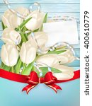 tulip bouquet and blank...   Shutterstock .eps vector #400610779