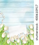 tulip bouquet and blank...   Shutterstock .eps vector #400610917