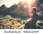 bearded man meditating relaxing ... | Shutterstock . vector #400612459