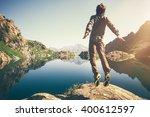 traveler man levitation jumping ... | Shutterstock . vector #400612597
