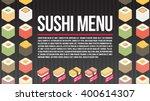 vector sushi menu template.... | Shutterstock .eps vector #400614307
