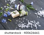 soap  cream and bath salt with... | Shutterstock . vector #400626661
