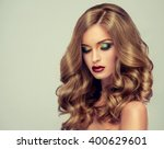 beautiful girl with long wavy... | Shutterstock . vector #400629601