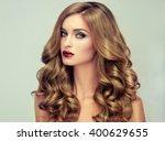 beautiful girl with long wavy... | Shutterstock . vector #400629655