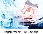 double exposure of scientist or ... | Shutterstock . vector #400656505