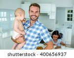 portrait of happy father... | Shutterstock . vector #400656937