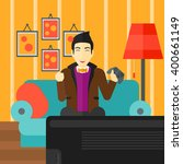 man playing video game. | Shutterstock .eps vector #400661149