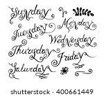 handwritten days of the week ... | Shutterstock .eps vector #400661449
