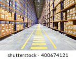 rows of shelves with boxes  | Shutterstock . vector #400674121