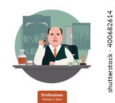 mafia boss in suit sitting at... | Shutterstock .eps vector #400682614