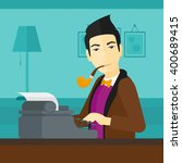reporter working at typewriter. | Shutterstock .eps vector #400689415