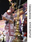 Small photo of CHONBURI, THAILAND - APRIL 30: Thai dancer perform Thai dance during annual festival of a worshipful Buddha image and Chinese goddess of mercy at Nong-Mon market. April 30, 2016 in Chonburi,Thailand.